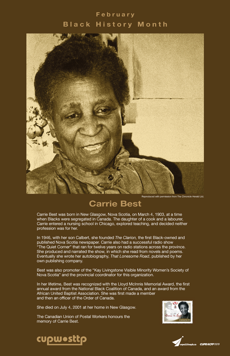 Carrie Best poster - Black History Month 2015