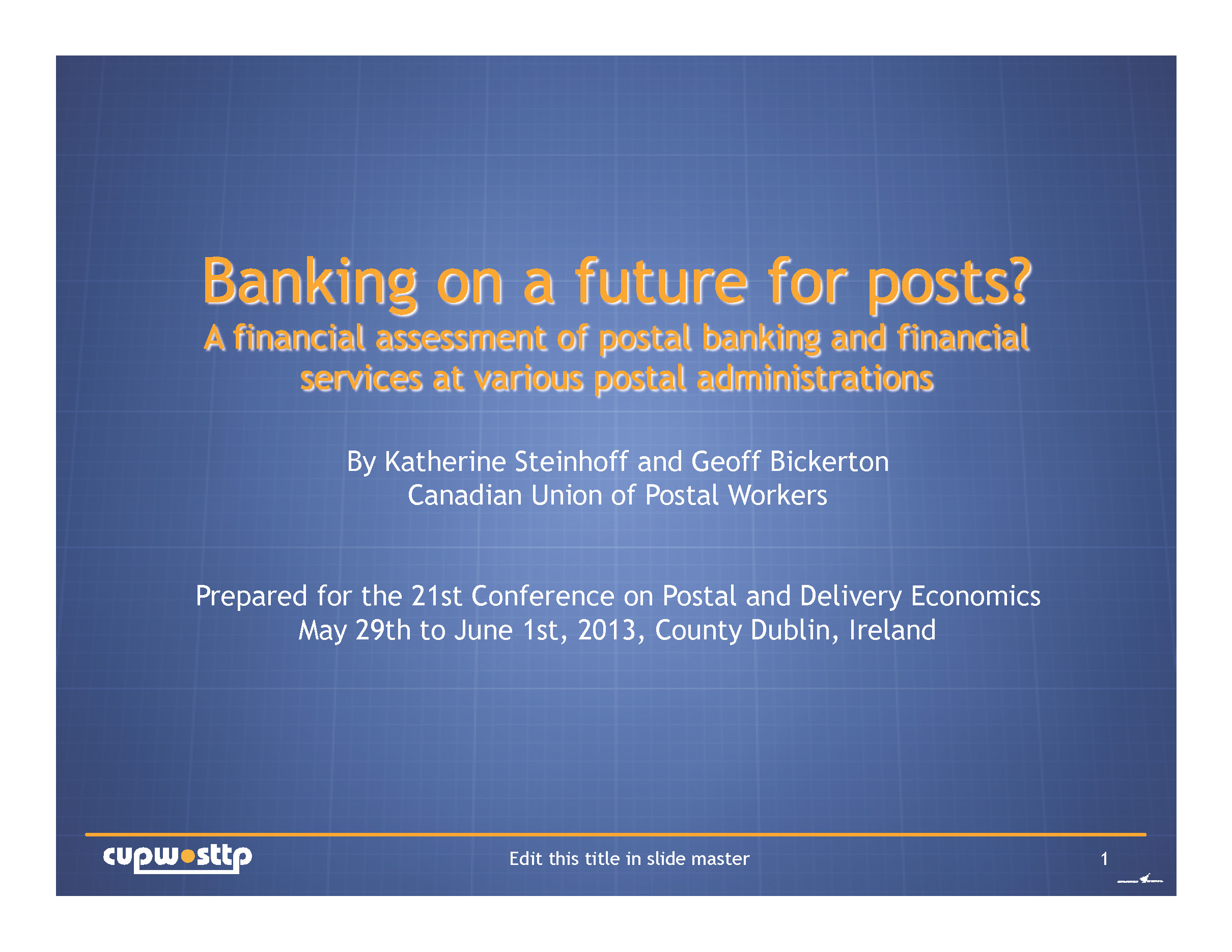 Banking on a future for posts? (PPT)