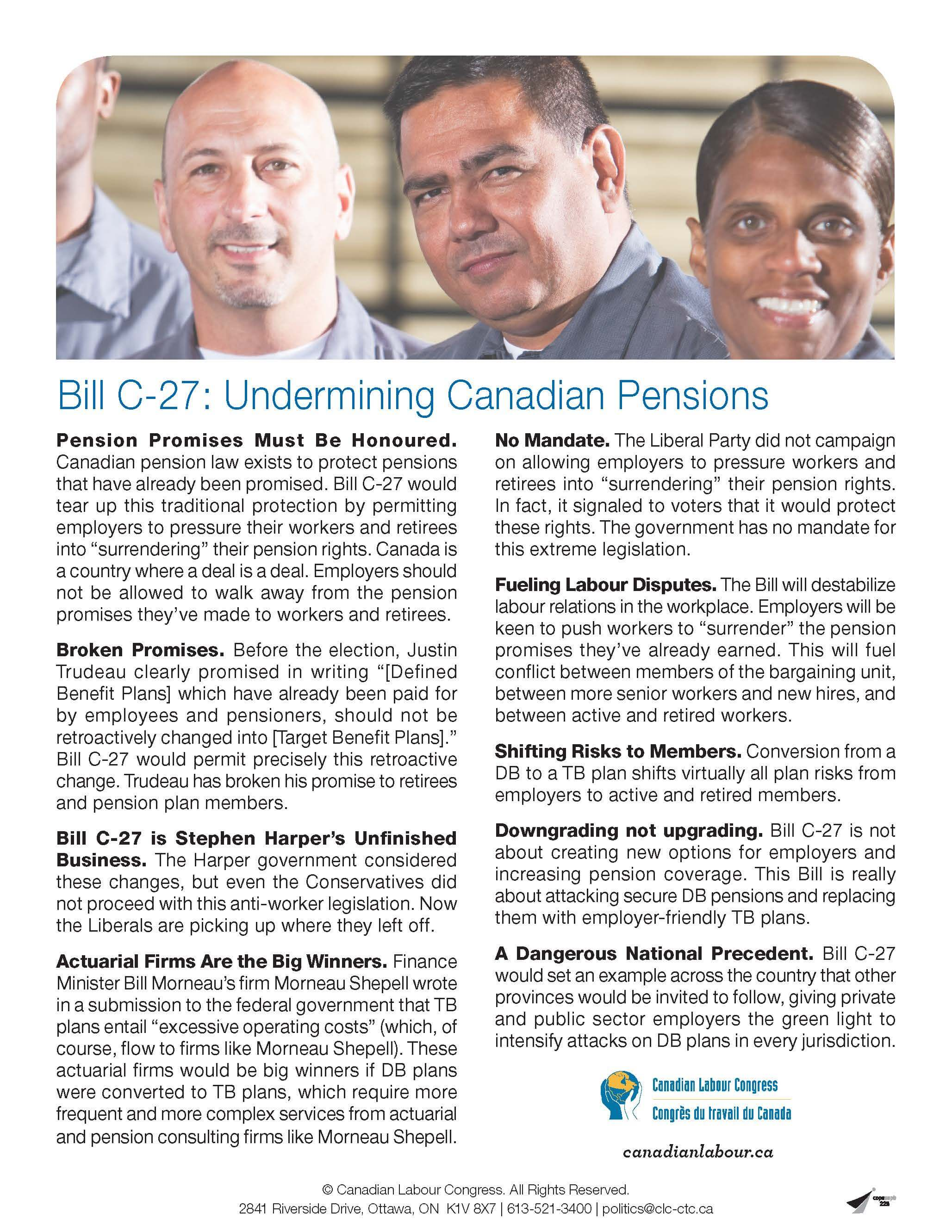 Bill C-27: Undermining Canadian Pensions (Fact Sheet)