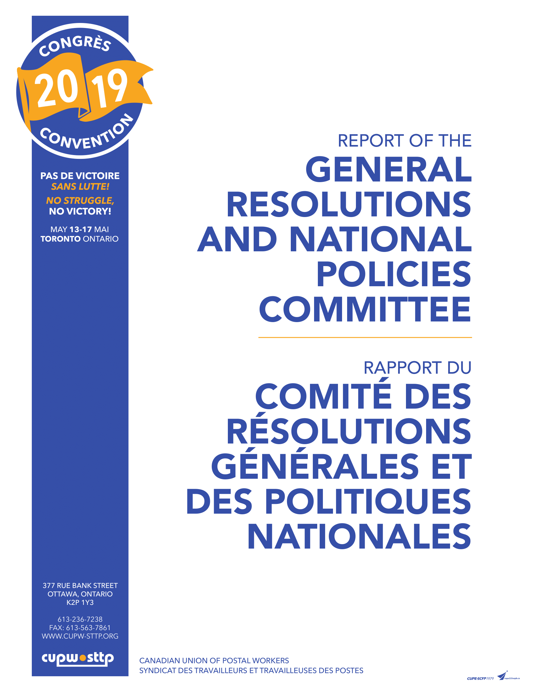 Report of the General Resolutions and National Policies Committee (2015)