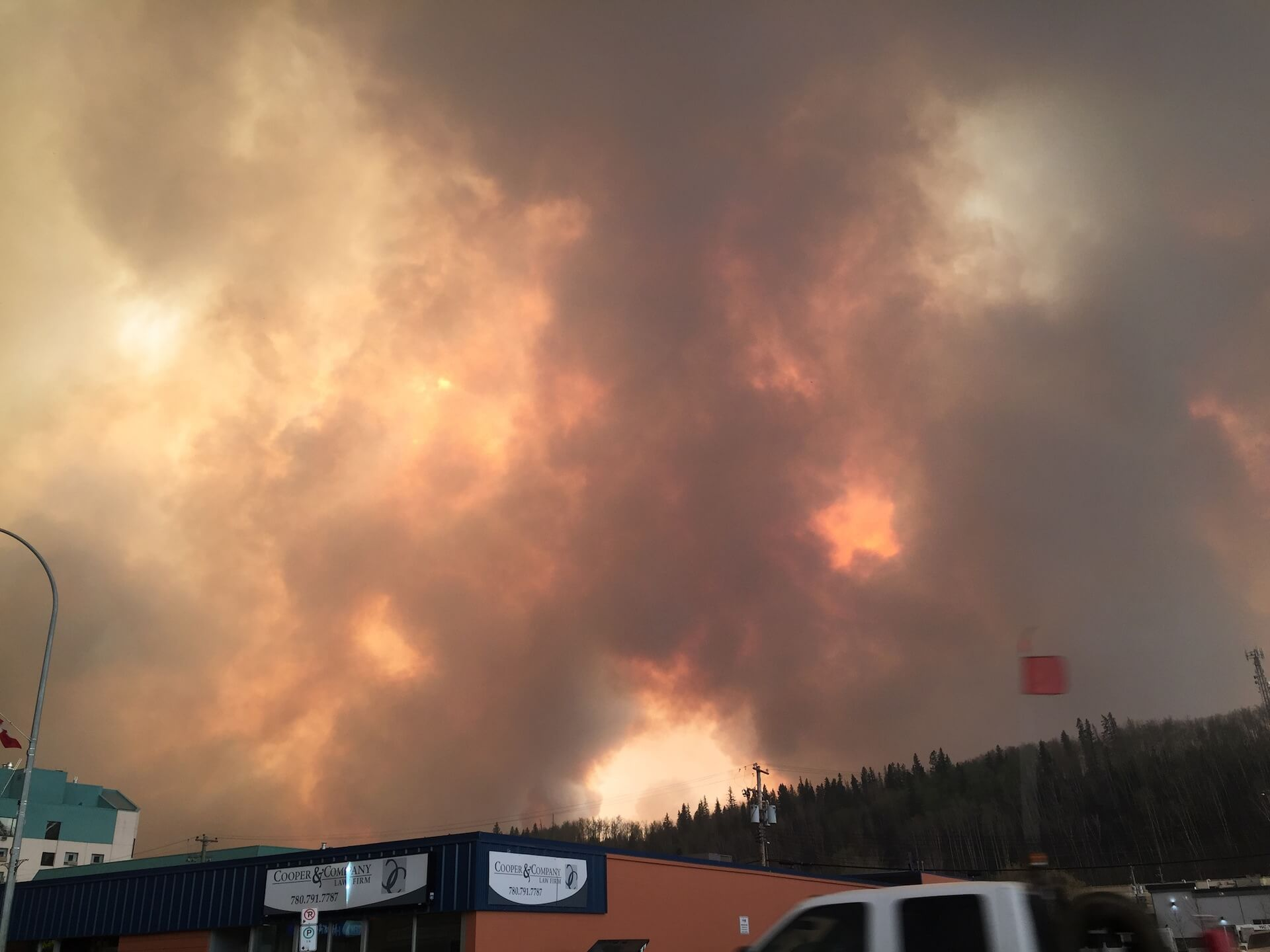 Photo of fire in Fort MacMurray taken by CUPW Sister Heather Cowan-Haskett