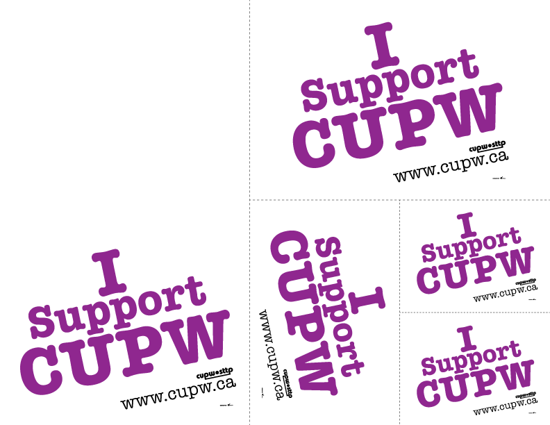 I Support CUPW - Print-and-Cut Signs (Various Sizes) (PDF)
