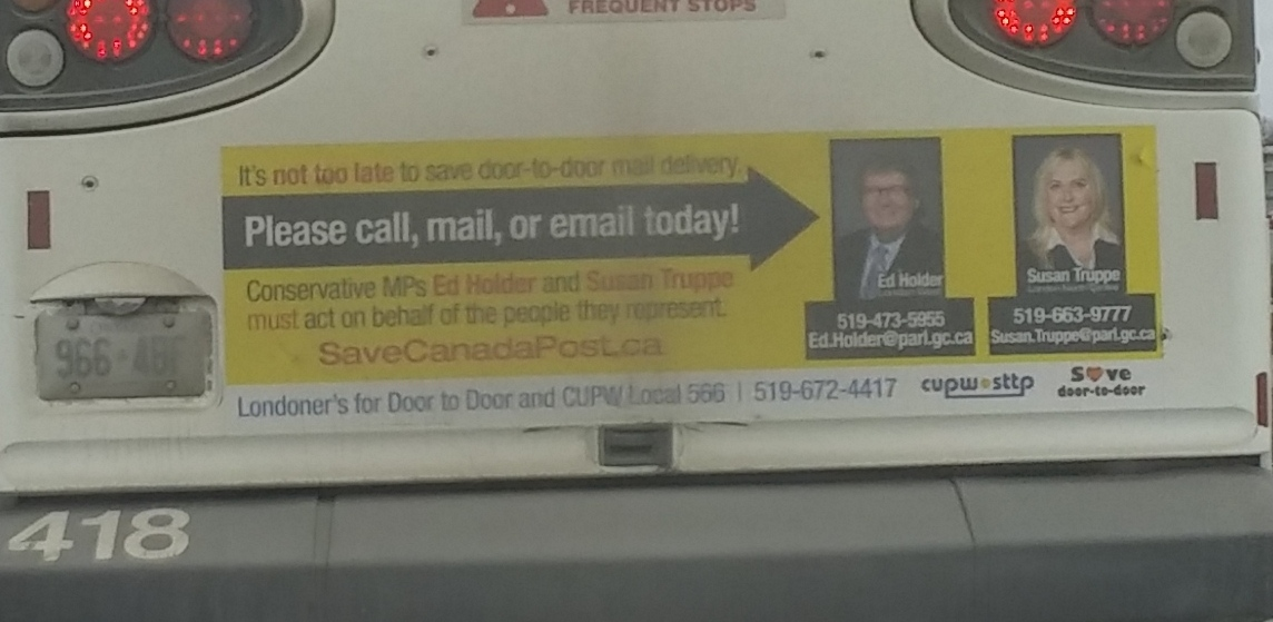 Save Canada Post ads on city buses in London