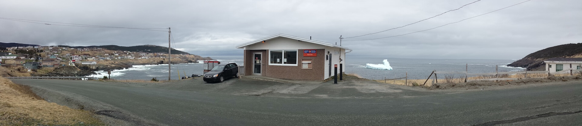 Panoramic image of a post office on the coast of Newfoundland