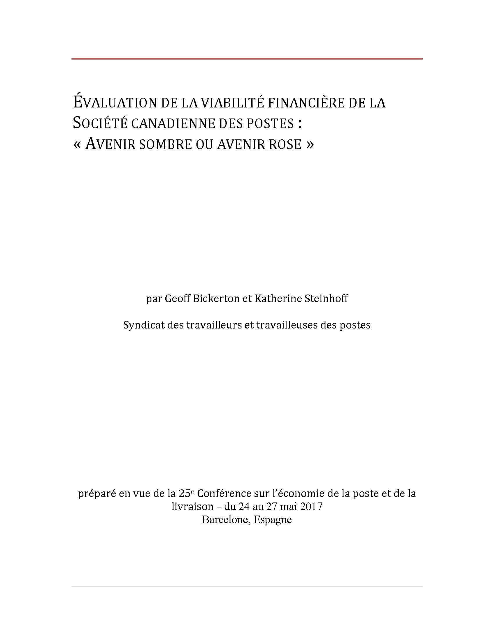 Évaluation de la viabilité financière de la Société canadienne des postes : « Avenir sombre ou avenir rose »