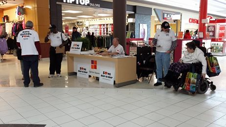 information table at the Eglinton Square shopping centre