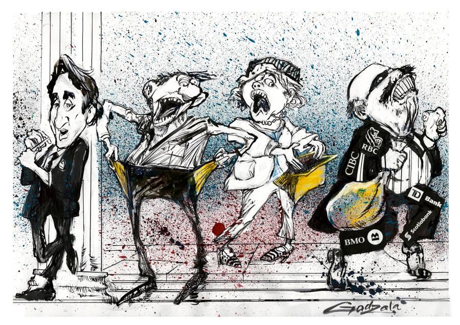 Illustration de Justin Trudeau appuyé contre une colonne d'une banque en train de se limer les ongles. Deux personnes en panique fouillent leurs poches et un sac à main vides. Une personne masquée s'éloigne, transportant des sacs à l'effigie des grandes b