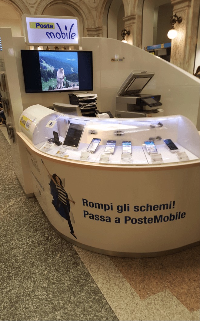 Photo: Poste Mobile counter in Italian post office.