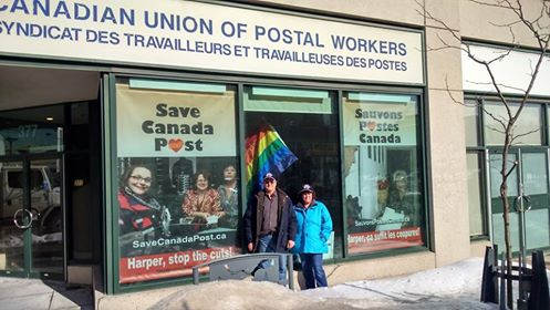 Save Canada Post window banners at CUPW National office