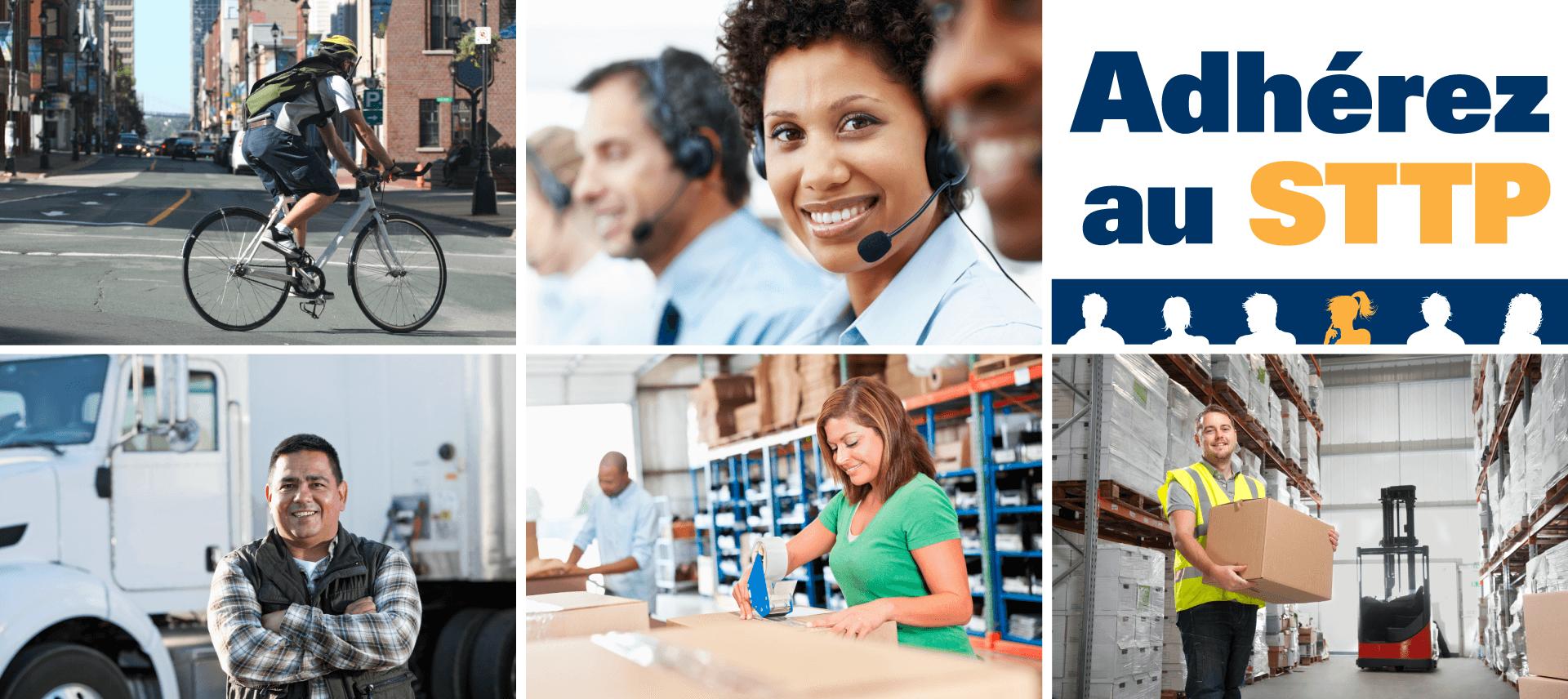 Photos : courrier à vélo, conducteur de camion, employés d'un centre d'appel, employés d'entrepôt