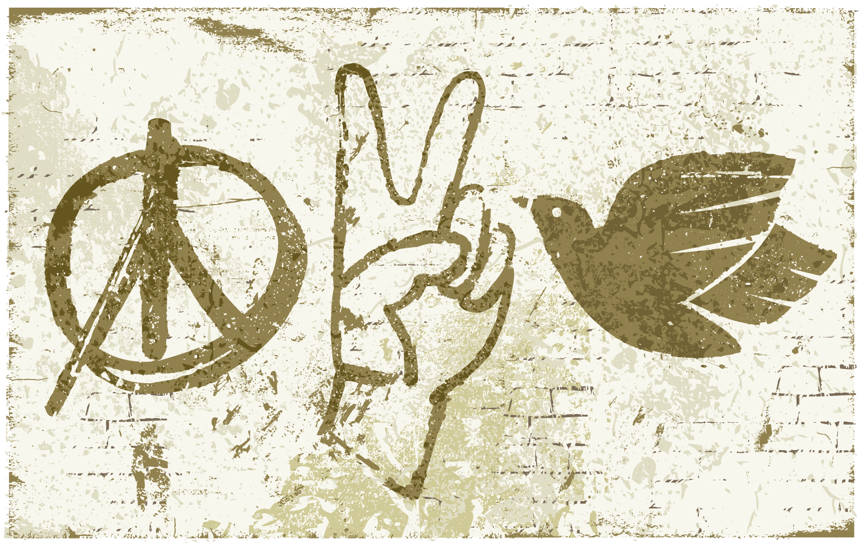 Illustration of a brick wall featuring graffiti of a peace symbol, hand making the peace sign and a dove.