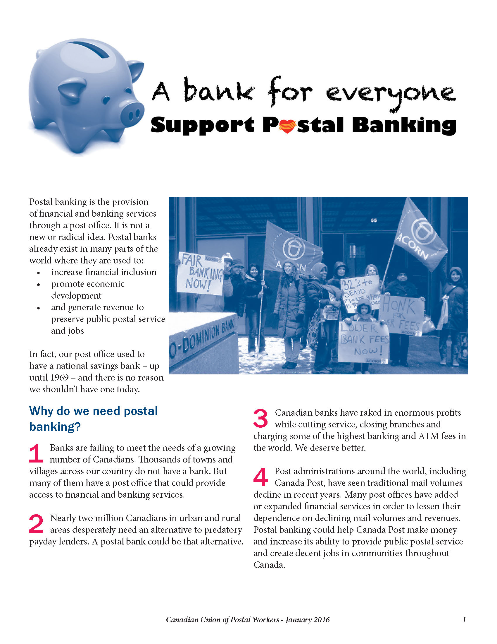 Postal Banking – A Bank for Everyone (Fact Sheet)
