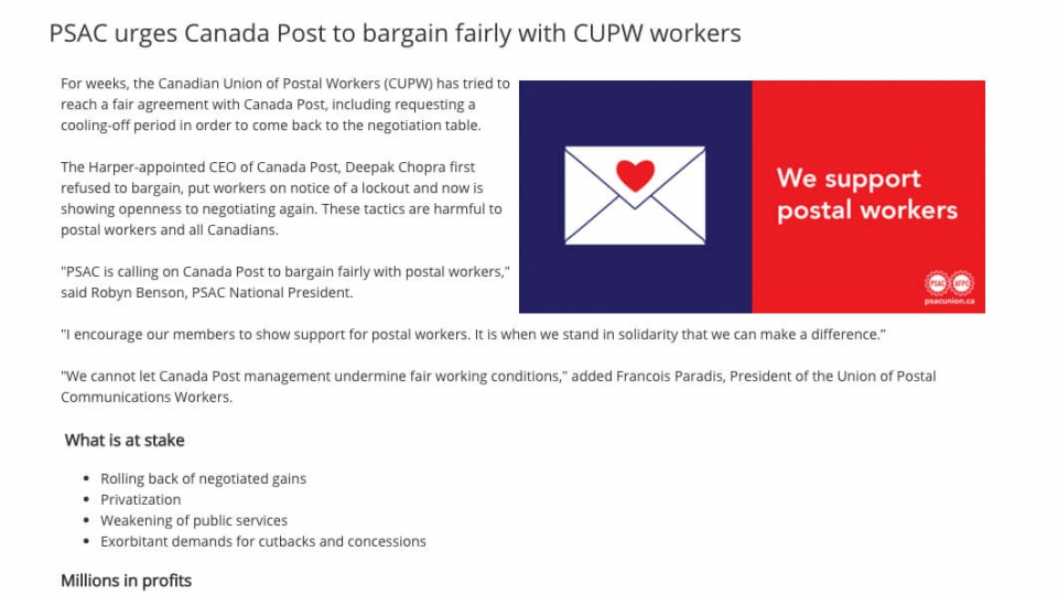 PSAC urges Canada Post to bargain fairly with CUPW workers