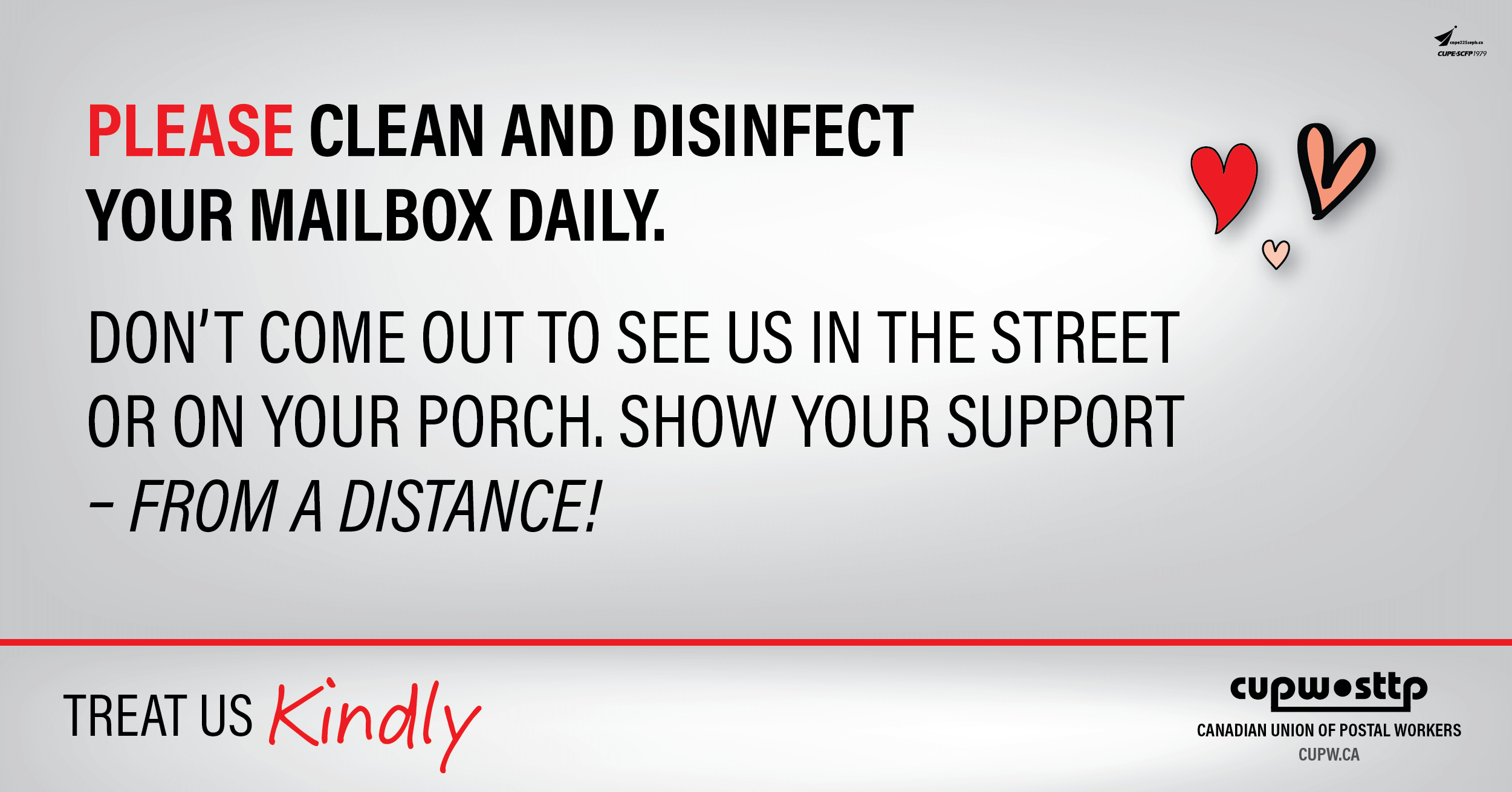 Please clean and disinfect your mailbox daily