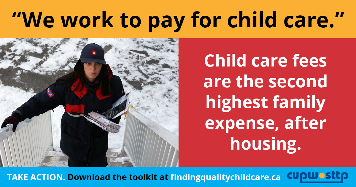 """We work to pay for child care."" Child care fees are the second highest family expense, after housing."