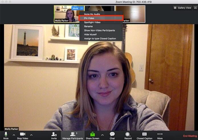 Image : Les participantes et participants qui souhaitent voir la traduction en langage gestuel peuvent épingler la vidéo de l'interprète de manière à ce qu'elle demeure à l'écran peu importe qui prend la parole.